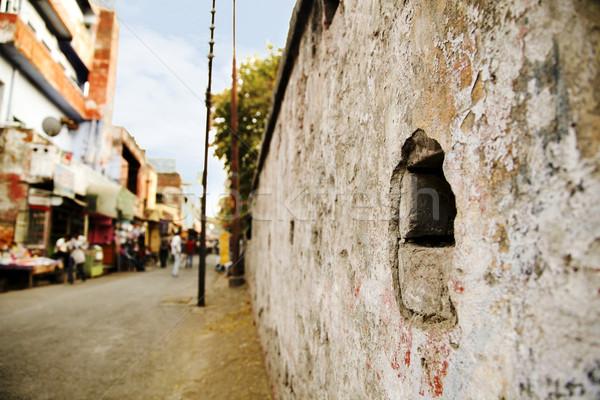 Details of a wall along a street, Agra, Uttar Pradesh, India Stock photo © imagedb