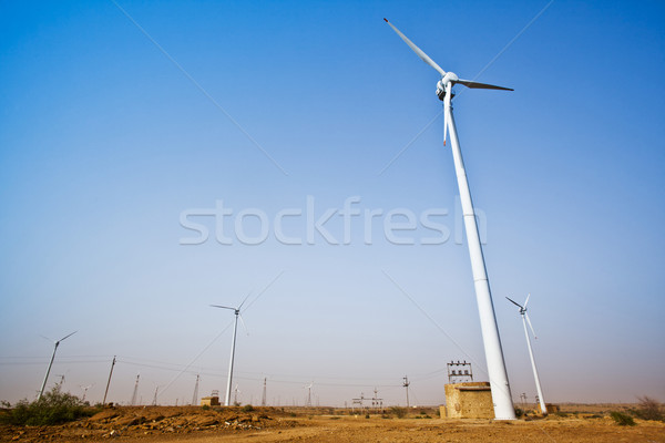 Wind turbines at wind farm, Jaisalmer, Rajasthan, India Stock photo © imagedb