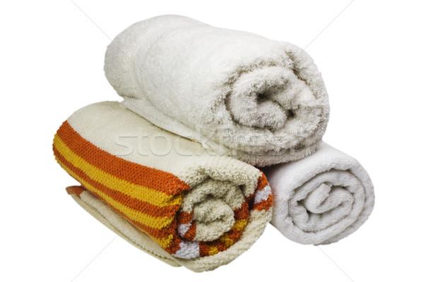 Közelkép boglya törölközők textil fotózás izolált Stock fotó © imagedb