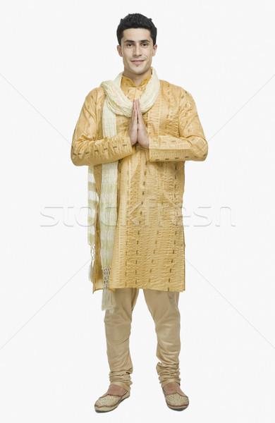 Adam dua pozisyon gülümseme portre ayakta Stok fotoğraf © imagedb