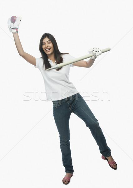 Kadın kriket fan kadın Stok fotoğraf © imagedb