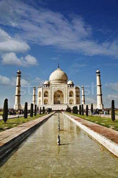 Mozole Tac Mahal Hindistan gökyüzü çim Stok fotoğraf © imagedb