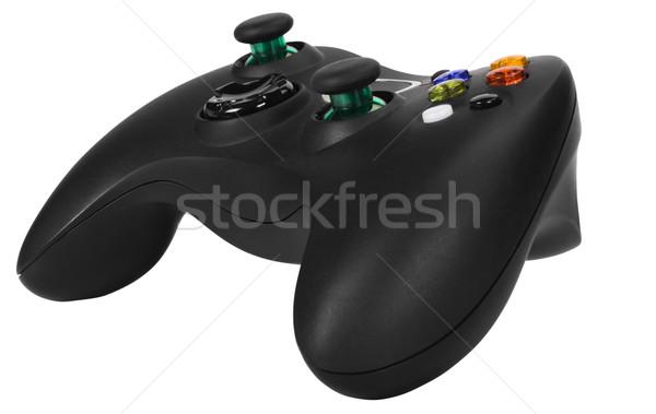 Közelkép videojáték fekete műanyag szórakoztatás elektomos Stock fotó © imagedb