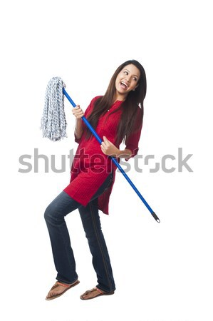 Happy woman enjoying with a mop Stock photo © imagedb
