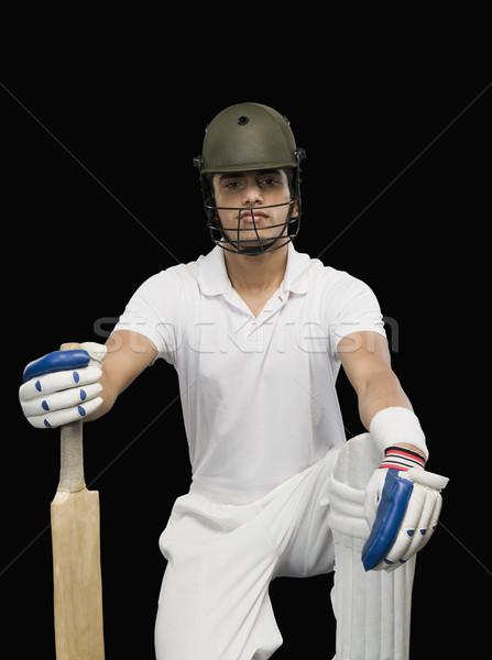 Portret cricket bat man veiligheid bescherming Stockfoto © imagedb