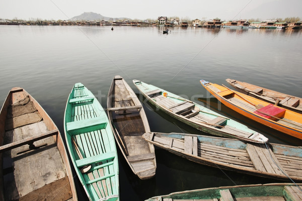 Stock photo: Shikaras in a lake, Dal Lake, Srinagar, Jammu And Kashmir, India