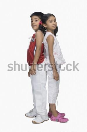 Retrato dois crianças em pé de volta cabelo Foto stock © imagedb