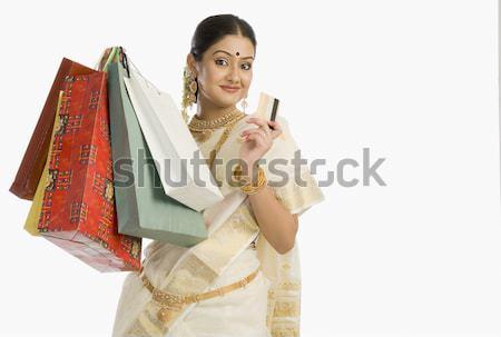 женщину кредитных карт счастливым красоту Сток-фото © imagedb
