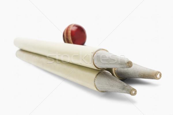 Közelkép krikett labda fa fotózás vízszintes Stock fotó © imagedb