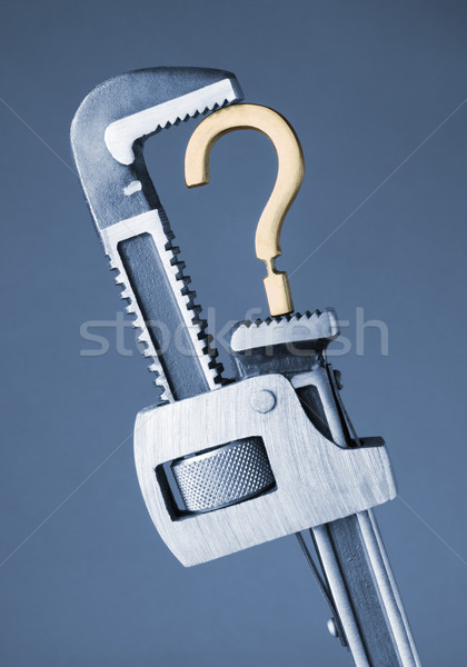 Franciakulcs kérdőjel szimbólum technológia fém ipar Stock fotó © imagedb