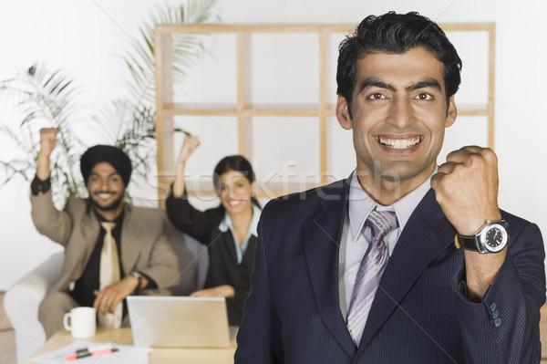 Iş yumruk gülen ofis Stok fotoğraf © imagedb