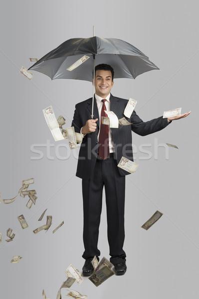 деньги дождь бизнесмен зонтик движения падение Сток-фото © imagedb