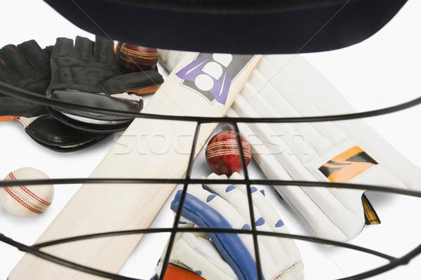 крикет оборудование спортивных шлема спорт группа Сток-фото © imagedb