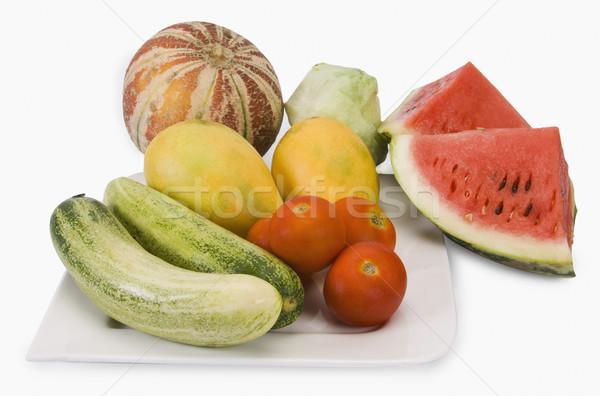 Közelkép gyümölcsök zöldségek csoport mangó zöldség Stock fotó © imagedb