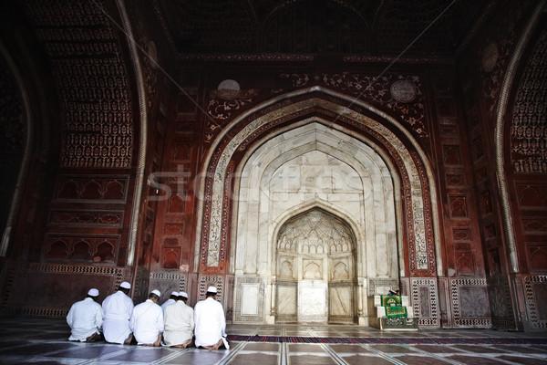 Photo stock: Musulmans · hommes · prière · mosquée · Taj · Mahal · groupe