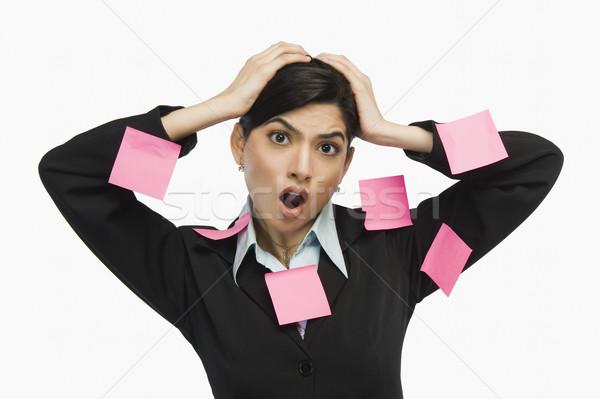 Adesivo notas planejamento escolha humor frustração Foto stock © imagedb