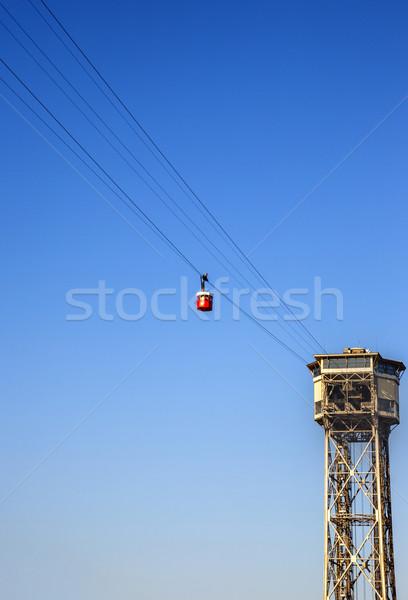 Alulról fotózva kilátás kábel autó Barcelona torony Stock fotó © imagedb