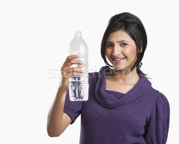 Mulher garrafa de água sorridente beleza jovem Foto stock © imagedb