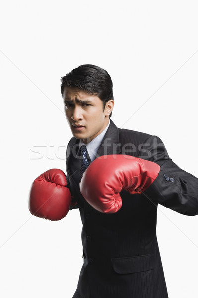 Empresário luvas de boxe negócio homem esportes Foto stock © imagedb
