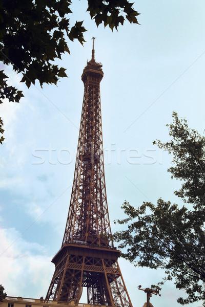 Alulról fotózva kilátás torony Eiffel-torony Párizs Franciaország Stock fotó © imagedb