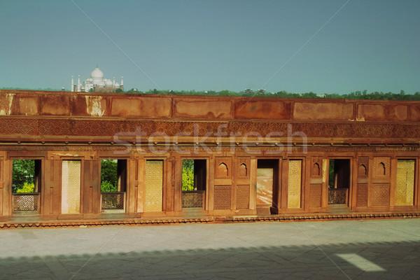 Muro fort mausoleo Taj Mahal cielo finestra Foto d'archivio © imagedb