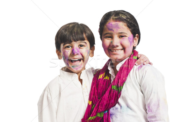 Portrait frère soeur célébrer festival enfant Photo stock © imagedb