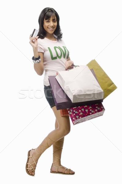 Młoda kobieta karty kredytowej kobieta miłości Zdjęcia stock © imagedb