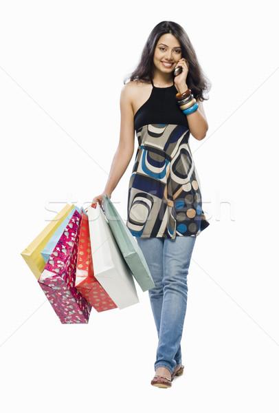 Stockfoto: Portret · jonge · vrouw · praten · mobiele · telefoon