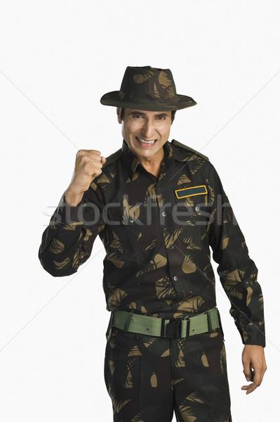 Portré hadsereg katona ököl színes kép izgalom Stock fotó © imagedb
