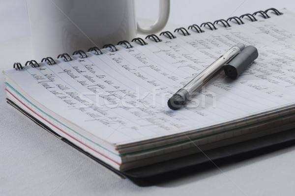 Kalem açmak defter kâğıt fincan Stok fotoğraf © imagedb