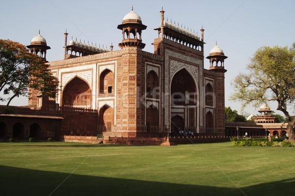 Mausoleo Taj Mahal albero erba cancello Foto d'archivio © imagedb