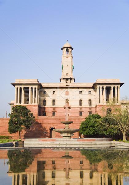 Reflectie overheid gebouw water new delhi Indië Stockfoto © imagedb