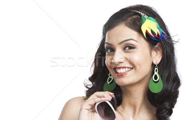 Güzel genç kadın poz güneş gözlüğü moda genç Stok fotoğraf © imagedb