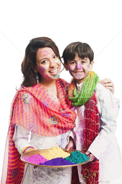Femme célébrer festival fils famille mère Photo stock © imagedb