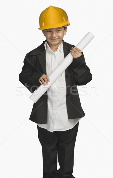Meisje architect blauwdruk glimlachend veiligheid Stockfoto © imagedb