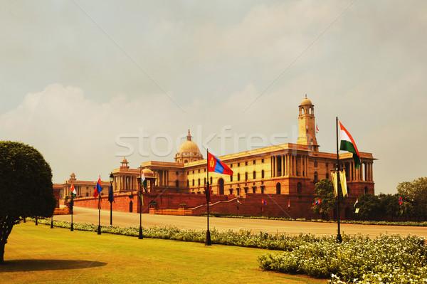 Façade gouvernement bâtiment new delhi Inde fleur Photo stock © imagedb