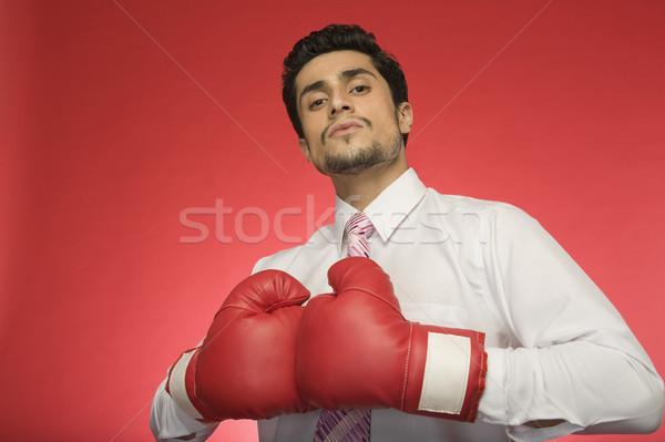 Ritratto imprenditore indossare guantoni da boxe uomo sport Foto d'archivio © imagedb