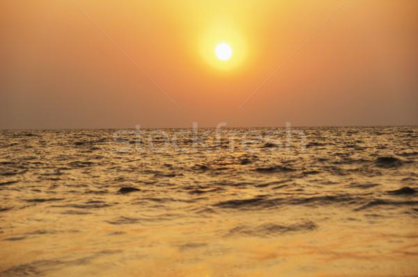 Panorámakép kilátás tenger naplemente Goa India Stock fotó © imagedb