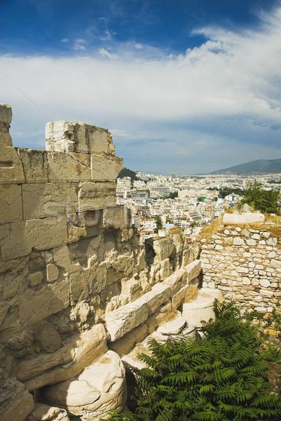 Ruínas stonewall Acrópole Atenas Grécia céu Foto stock © imagedb