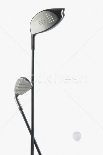 Twee golfclubs golfbal metaal bal Stockfoto © imagedb