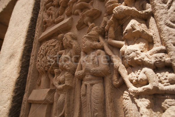 Carving detail on the ancient stupa at Sanchi, Madhya Pradesh, I Stock photo © imagedb
