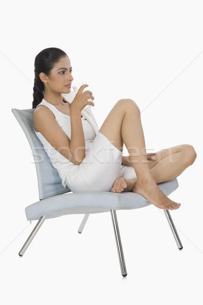 Foto d'archivio: Donna · seduta · sedia · acqua · potabile · fitness · giovani