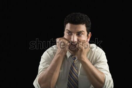 Biznesmen czeka głowie ręce działalności stres Zdjęcia stock © imagedb