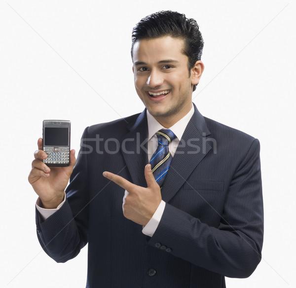 Işadamı cep telefonu iş mutluluk bağlantı Stok fotoğraf © imagedb