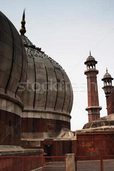 Cami Delhi Hindistan gökyüzü mimari tarih Stok fotoğraf © imagedb