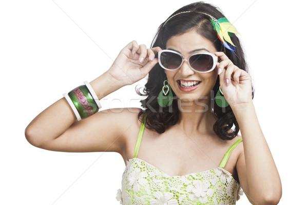 красивой позируют Солнцезащитные очки женщину моде Сток-фото © imagedb