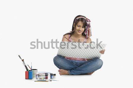 женщины моде дизайнера пер карандашом искусства Сток-фото © imagedb