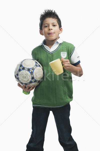 Erkek futbol topu içme sıcak çikolata çocuk Stok fotoğraf © imagedb