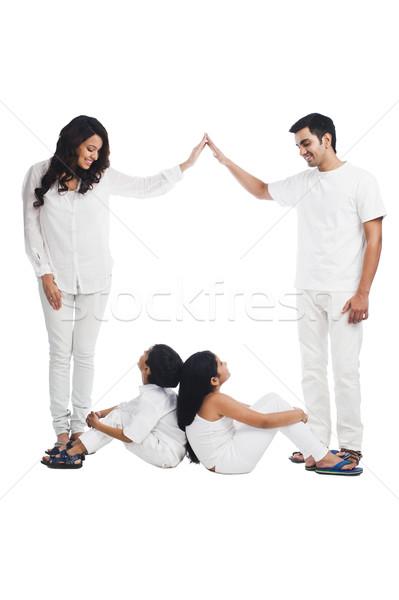 Feliz padres jugando ninos familia ninas Foto stock © imagedb
