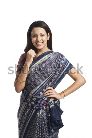 Boldog nő áll kéz csípő gyönyörű Stock fotó © imagedb